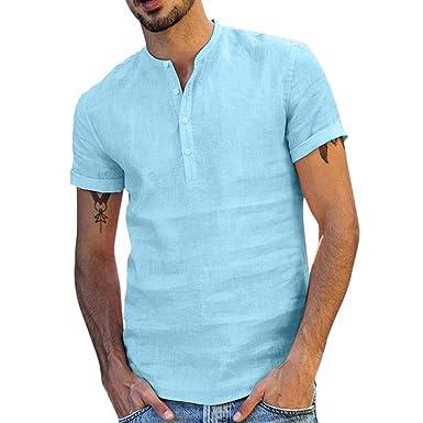 half off b6c2d 5b150 Vovotrade Camicia Uomo Camicie di Lino a Maniche Corte con V Collo Camicia