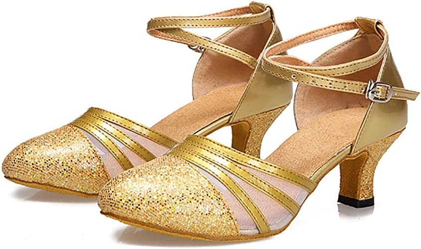 WYMNAME Womens Bright Side Latin Dance Shoes,Middle Heels Soft Bottom Social Dancing Shoes Ballroom Dance Shoes