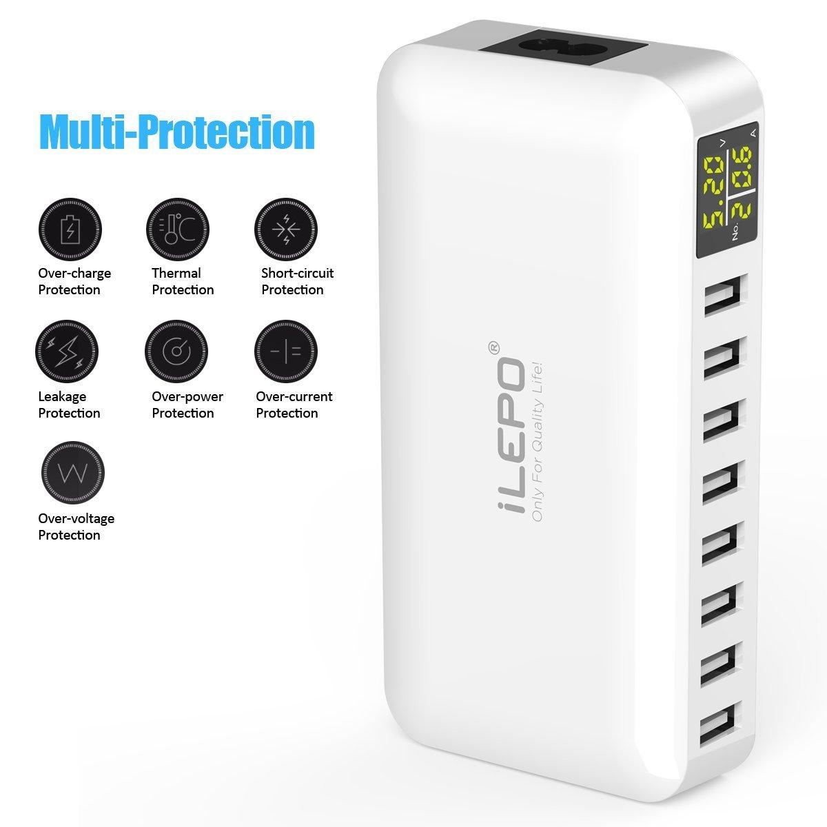 iLepo Station de charge avec 8 ports Chargeur Usb sur secteur avec un affichage LCD (50W) moniteur de mesure de voltage utilisable pour charger les tablettes smartphones , batteries ruihongfushi iLepo usb hub