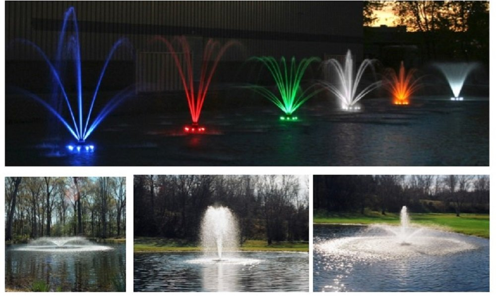 Kasco Marine Fountain with LED LIGHTS - 3/4 HP w/150ft Cord - 5 patterns & Lighting Kit Included