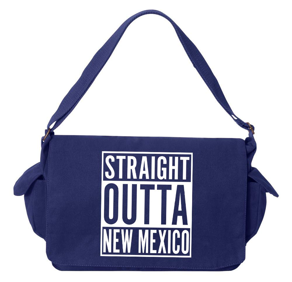 Tenacitee Straight Outta New Mexico Grey Brushed Canvas Messenger Bag