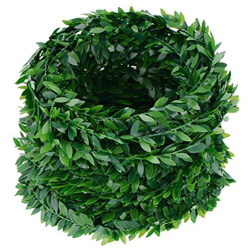 eBoot 24.6 Yards Artificial Ivy Garland Foliage Green Leaves Fake Vine for Wedding Party Ceremony DIY Headbands