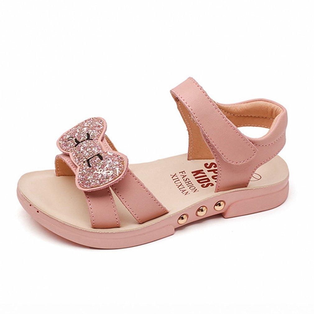 CYBLING Girls Summer Sandals Glitter Bowknot Open Toe Outdoor Flat Shoes (Toddler/Little Kid/Big Kid)