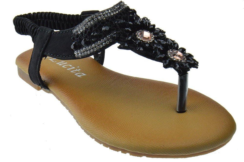 Lucita Pecko 1514KM Little Girls Gladiator Floral Rhinestone Comfort Flat Sandals
