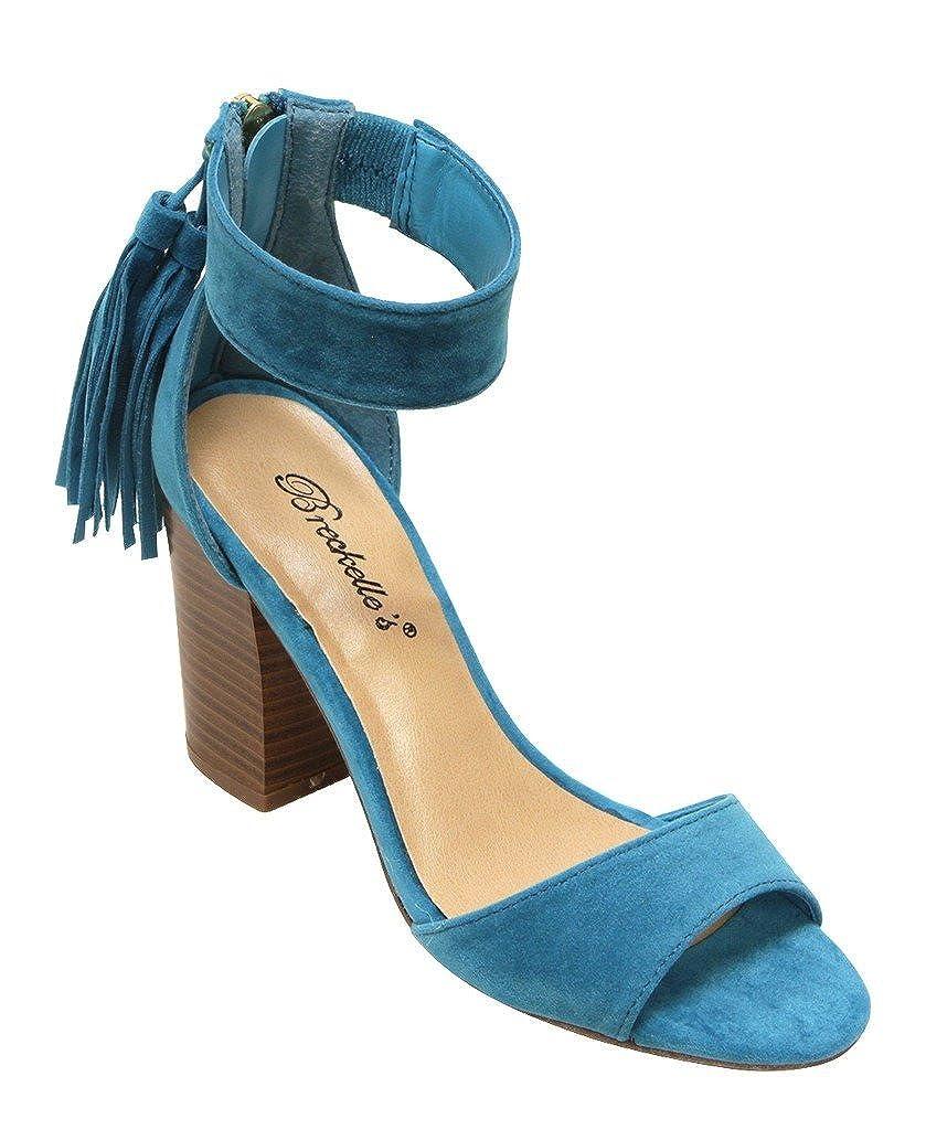 Breckelles Pensee-32 Womens DOrsay Open Toe Chunky Heel Fringe Tassel Zip Closure Ankle Strap Suede Sandals
