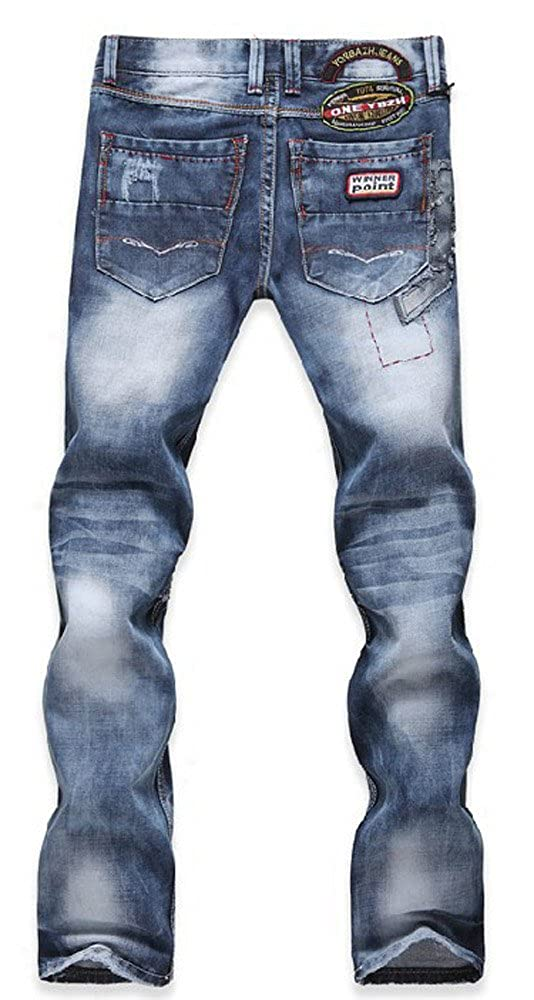 Allonly Mens Fashion Casual Slim Fit Straight Leg Jeans Pants With Broken Holes