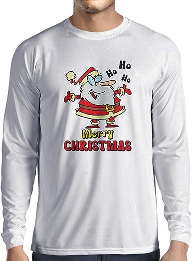 lepni.me Camiseta de Manga Larga para Hombre Papá Noel Bailando, Camisa de Vacaciones de Navidad: Amazon.es: Ropa y accesorios