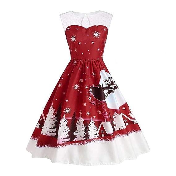 Lenfesh Vestir de Navidad de Mujeres Elegantes Mini Vestido para Noche Fiesta Playa Fiesta A-Line Swing Dress: Amazon.es: Ropa y accesorios