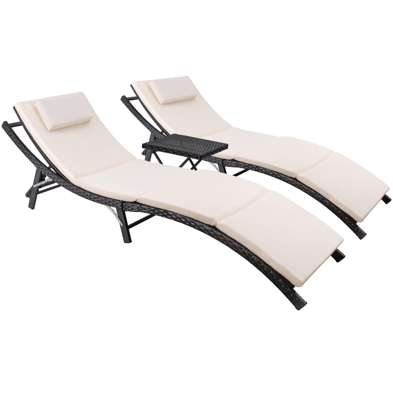 Devoko Patio Chaise Lounge Sets Outdoor Rattan Adjustable Back 3 Pieces Cushioned Patio Folding Chaise Lounge with Folding Table (Beige Cushion) by Devoko (Image #5)