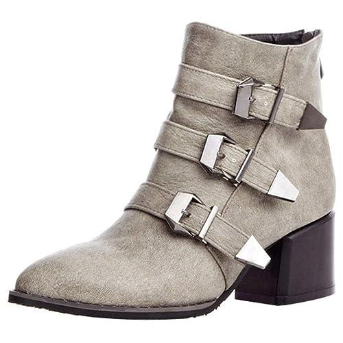 c35c304eebb82 YE Bottes Chaude Courtes Bottines Femme en Cuir Bout Pointu Talon Bloc  Boucles Ankle Boots Woman