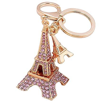 Gosear Diseño de Torre Eiffel Llavero Coche para Mujer Rosa
