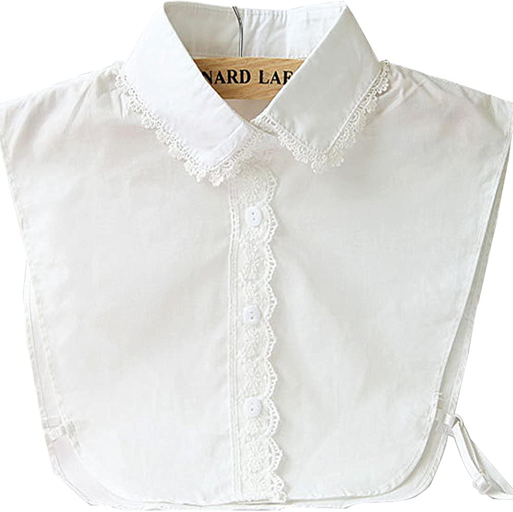 Womens Fake False Faux Half Shirt Blouse Peter Pan Collar Detachable Costume