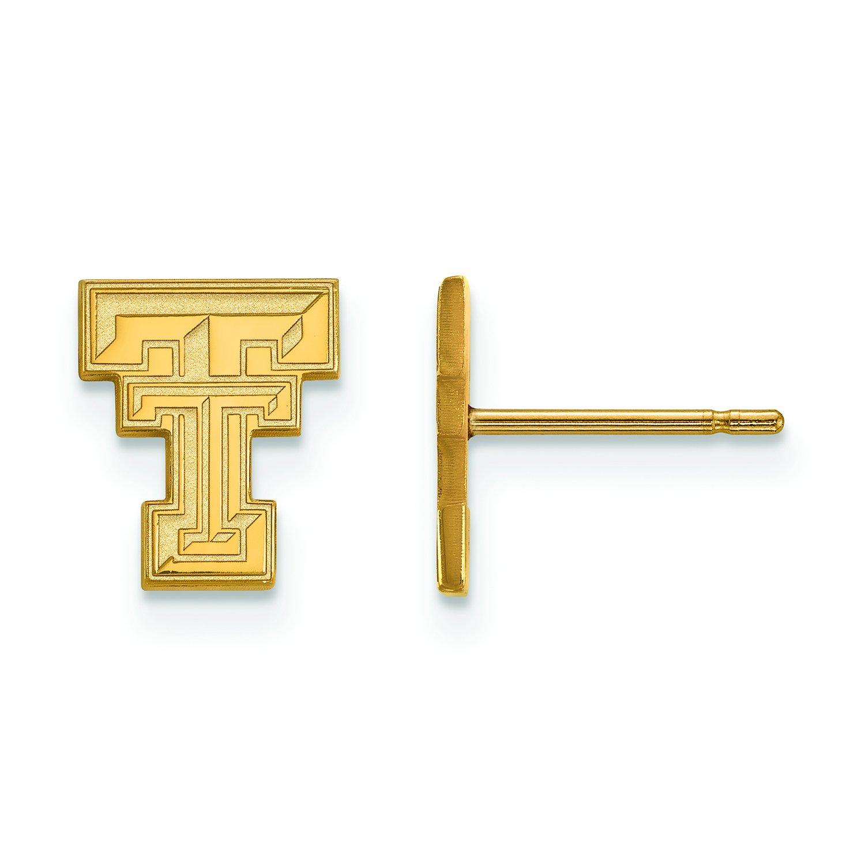テキサスTech Extra Small ( 3 / 8インチ)ポストイヤリング( 10 Kイエローゴールド)   B01J0159X2