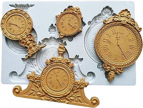 Large Vintage Retro Table Clock Silicone Fondant Mold Desk Clock Gumpaste Sugarcraft Mold Cake Decorating Tool Polymer Clay Epoxy Resin Craft Casting Mould