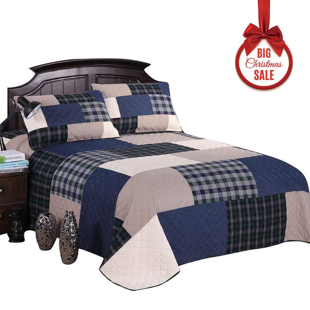 Mixinni® Bettüberwurf Baumwolle 100% Muster Reversible Gedruckt Karo Patchwork Quilt überdecken für Sommer   Winter Tagesdecke (Enthält keine Kissenbezüge) marineblau 245x269 cm