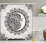 Mystic House Decor Shower Curtain by Ambesonne, Ornate Crescent Moon with Stars and Mandala Asian Eastern Spiritual Graphic, Fabric Bathroom Set with Hooks, 69W X 70L Inches Long, Beige White Black