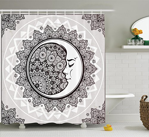 Mystic House Decor Abundance Curtain by Ambesonne, Ornate Crescent Moon with Stars and Mandala Asian Eastern Spiritual Graphic, Fabric Bathroom Set with Hooks, 69W X 70L Inches Yearn, Beige White Black