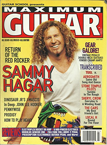 (Maximum Guitar Magazine July 1997 Return of the Red Rocker Sammy Hagar, Transcribed Songs: Tool-H, Aerosmith-Same Old Song and Dance, Stone Temple Pilots-Tumble in The Rough, The Cars My Best Friend's Girl and More)
