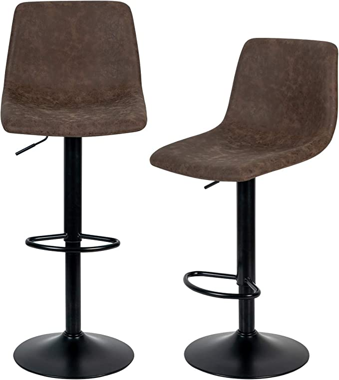 Huaxu Modern Bar Stools Set of 2Pcs Adjustable Swivel Gas Lift Red Chrome Footrest and Base for Breakfast Bar Kitchen and Home Barstools Chairs -UK Stock Leatherette Exterior Counter