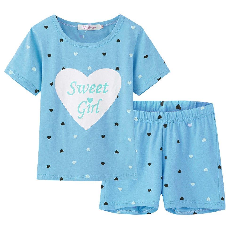 MyFav Big Girls Summer Pajama Set Heart Shape Printed Cute Sleepwear Shorts