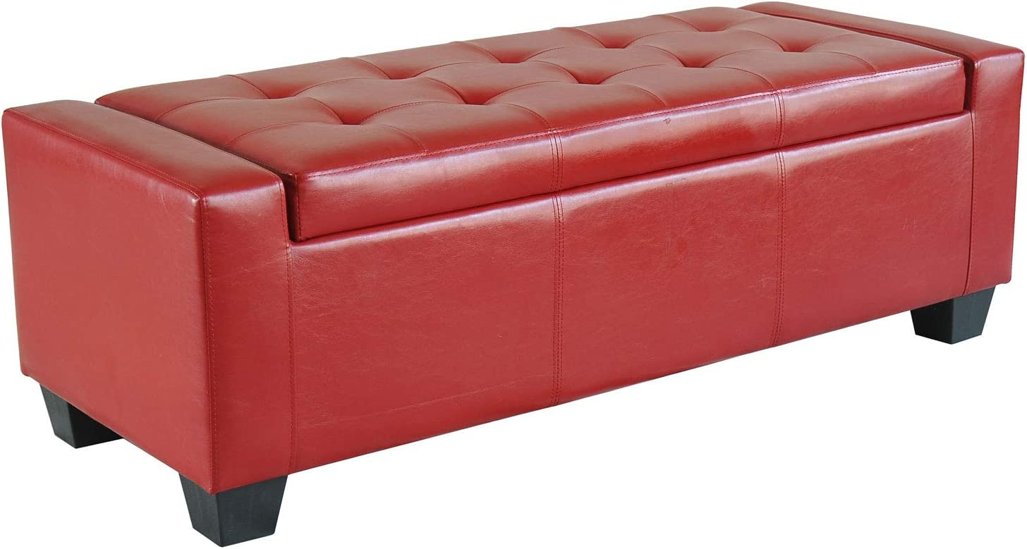 """HOMCOM 11"""" Faux Leather Unique Tufted Storage Bench Ottoman - Bright Red"""