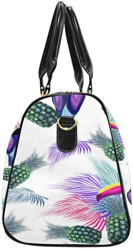 Birds InterestPrint Unisex Duffel Bag Carry-on Bag Overnight Bag Weekender Bag Toucan Palm Leaves Fruits Pineapples