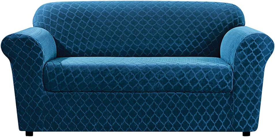 """SureFit Stretch Grand Marrakesh Loveseat slipcover – Box Cushion-Twopiece –Up To 40"""" Tall-Machine Washable, Nile Blue Color"""