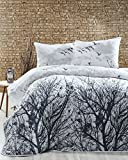 LaModaHome 3 Pcs Soft Colored Full and Double Bed Size Bedroom Bedding 65% Cotton Double Quilted Bedspread Set 100% Fiber Filling Padded Tree Nature Bird Animal Forest Sky Cloud Natural Bedspread Set