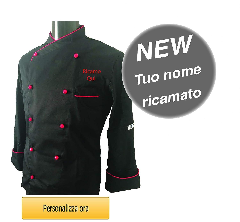 Giacca Cuoco Ricamata Isacco Modello Panama Slim Nero Rosso con Nome Personalizzabile Online