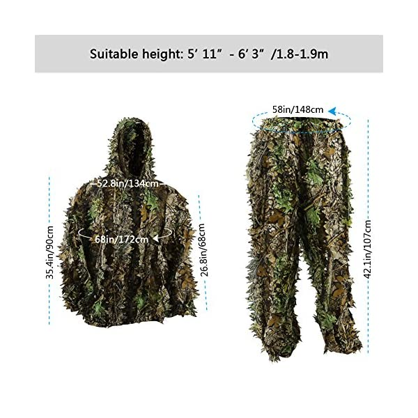 3D Outdoor Gear Camouflage Woodland Jungle Leafy Hunting Military Ghillie Suit