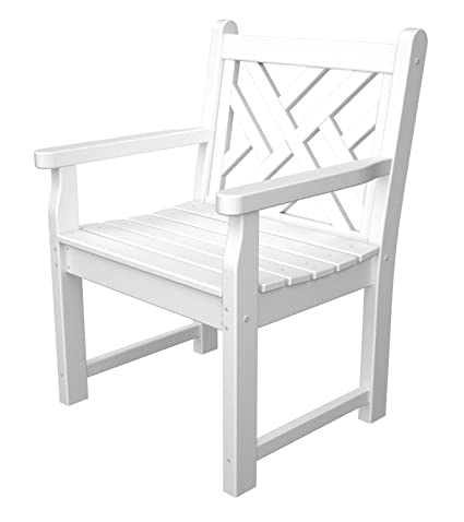 POLYWOOD CDB24WH Chippendale Garden Arm Chair, White