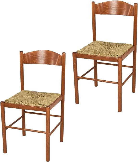 tmcs Tommychairs Set 2 sedie Classiche Pisa 38 per Cucina, Bar e Sala da Pranzo, con Robusta Struttura in Legno di faggio Verniciato Color ciliegio
