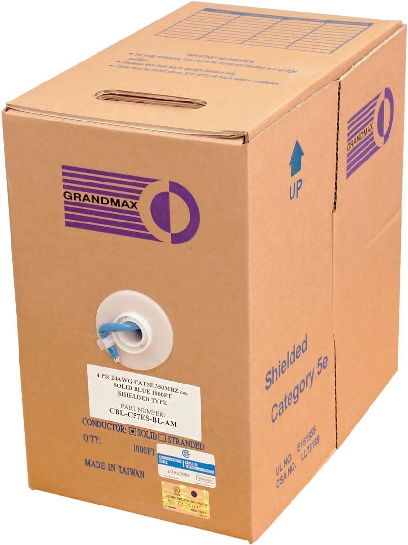 4 Pair 1000ft 24 AWG// 1000FT// Orange cm Rated Grandmax CAT5e 350MHz Stranded Ethernet PVC Bulk Cable 100/% Copper Wire UTP Pull Box