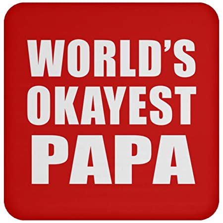 Worlds Okayest Papa - Drink Coaster Red Posavasos para ...