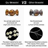 M MOOHAM Gemstone Bead Bracelets, 6mm Natural Stone Beads Bracelet, Men Women Stress Relief Yoga Beads Adjustable Semi-Precious Gemstone Bracelet Bangle
