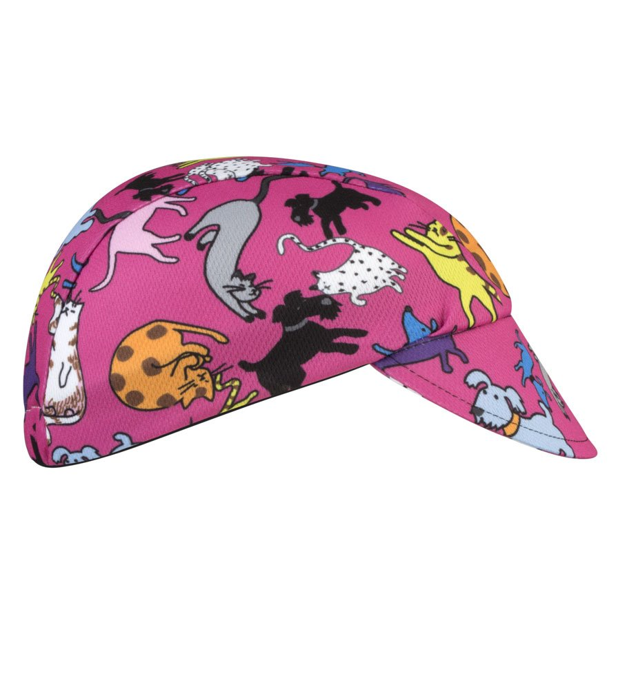 It's Raining Cats and Dogs! Pink Children's Cycling Cap - Made in the USA