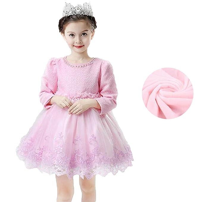 Vestidos Princesa Encaje Niñas - Vestidos Otoño Manga Larga Flores Bordado Vestido Fiesta Cumpleaños Festivales Boda