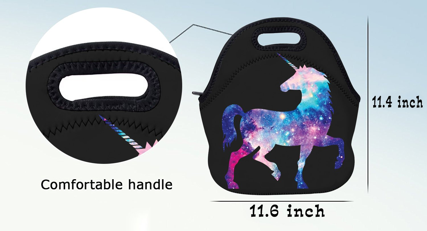 AOTIGO Unicorn Horse Galaxy Space Neoprene Lunch Bag Insulated Lunch Box Waterproof Lunch Tote Bag with Zipper for Women… 6