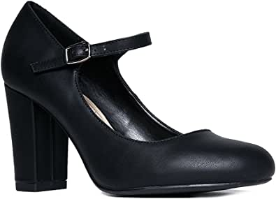 J. Adams Skippy Heels for Women - Round Toe Chunky High Heel Mary Jane Pumps
