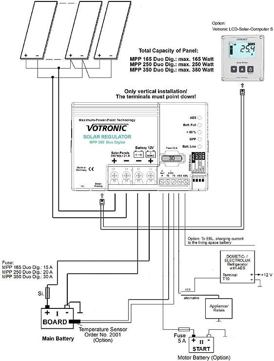 Marine Version 21A MPPT Dual-Solarladeregler 12V Votronic MPP 350 Duo Digital
