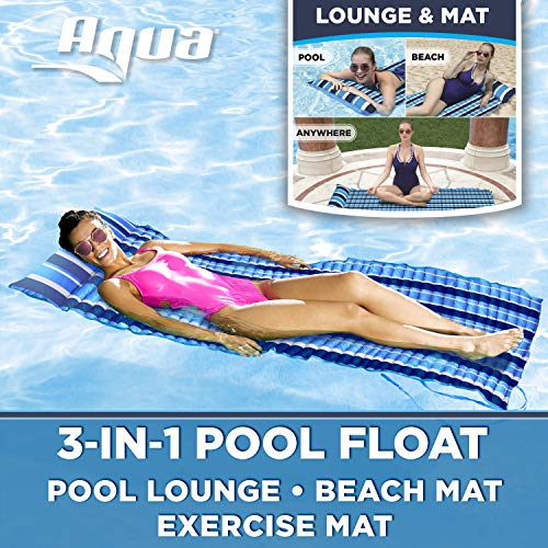 - Aqua 3-In-1 Roll-Up Pool Float, Padded Mat For Beach-Land-Water, Roll-Up Mat with Carry Strap, Navy/White Stripe