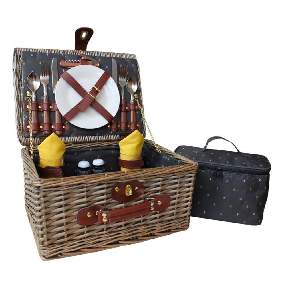 Red Hamper Picknickkorb f/ür 2 Personen Antik-Optik Weidenkorb Rot