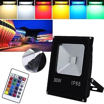 HG® Foco RGB 30W LED Proyector Resistente al agua IP65 Lámpara ...