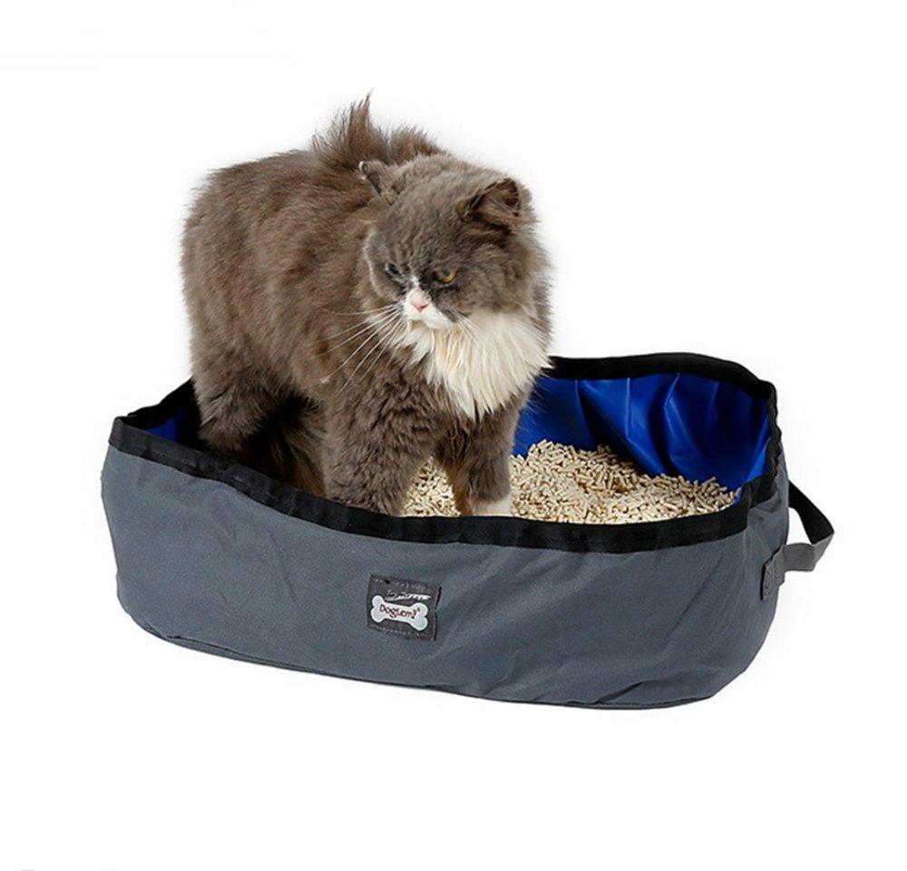 JINZE - Arenero portátil plegable para gatos al aire libre Tejido impermeable, fácil de limpiar. Azul, gris, adecuado para gatos y animales pequeños. Interior exterior viaje. Camping en múltiples lugares.