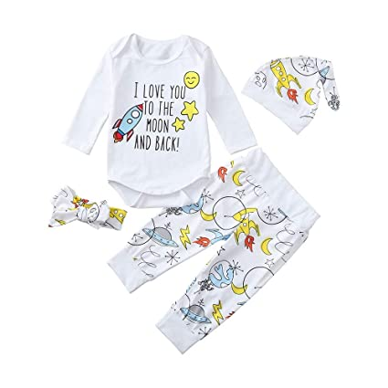 f11d8842980aa BURFLY Toddler Baby Cartoon Letter Print Clothes Outfit Set Romper, Baby  Boys Girls Rocket with