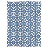 iPrint Super Soft Throw Blanket Custom Design Cozy Fleece Blanket,Arabian,Traditional Moorish Turkish Tangled Pattern and Geometric Lines Mosque Islamic Art,Blue White,Perfect for Couch Sofa or Bed