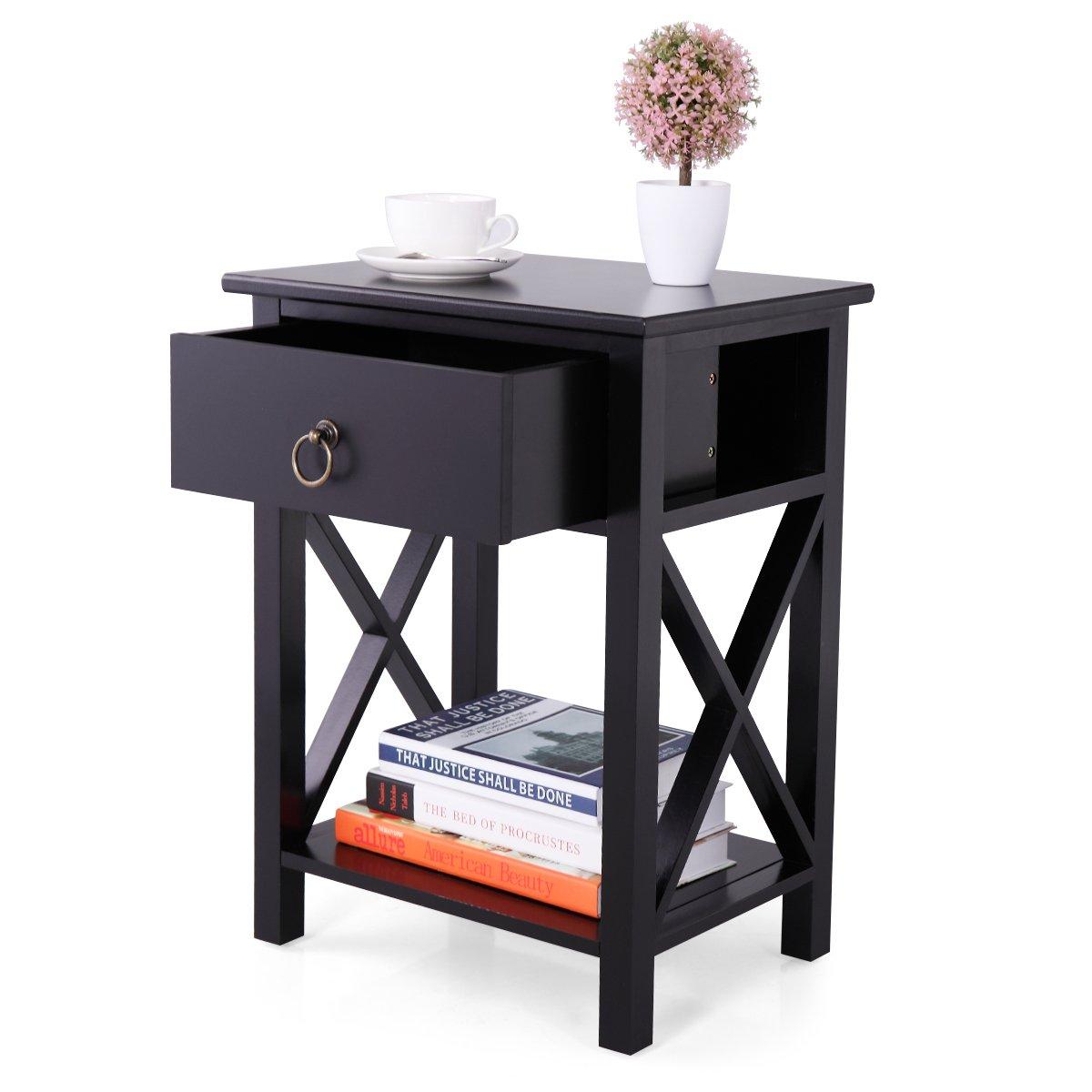 LAZYMOON Wood Nightstand Table X-Design Sofa End Side Table Storage Shelf w/ 1 Drawer, Black Finish