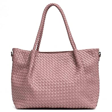 0bc48a588407 HITSAN INCORPORATION MONFERE Women PU Leather Casual Handbags Handmade Woven  Tote Bag Female Vintage Shoulder Bag