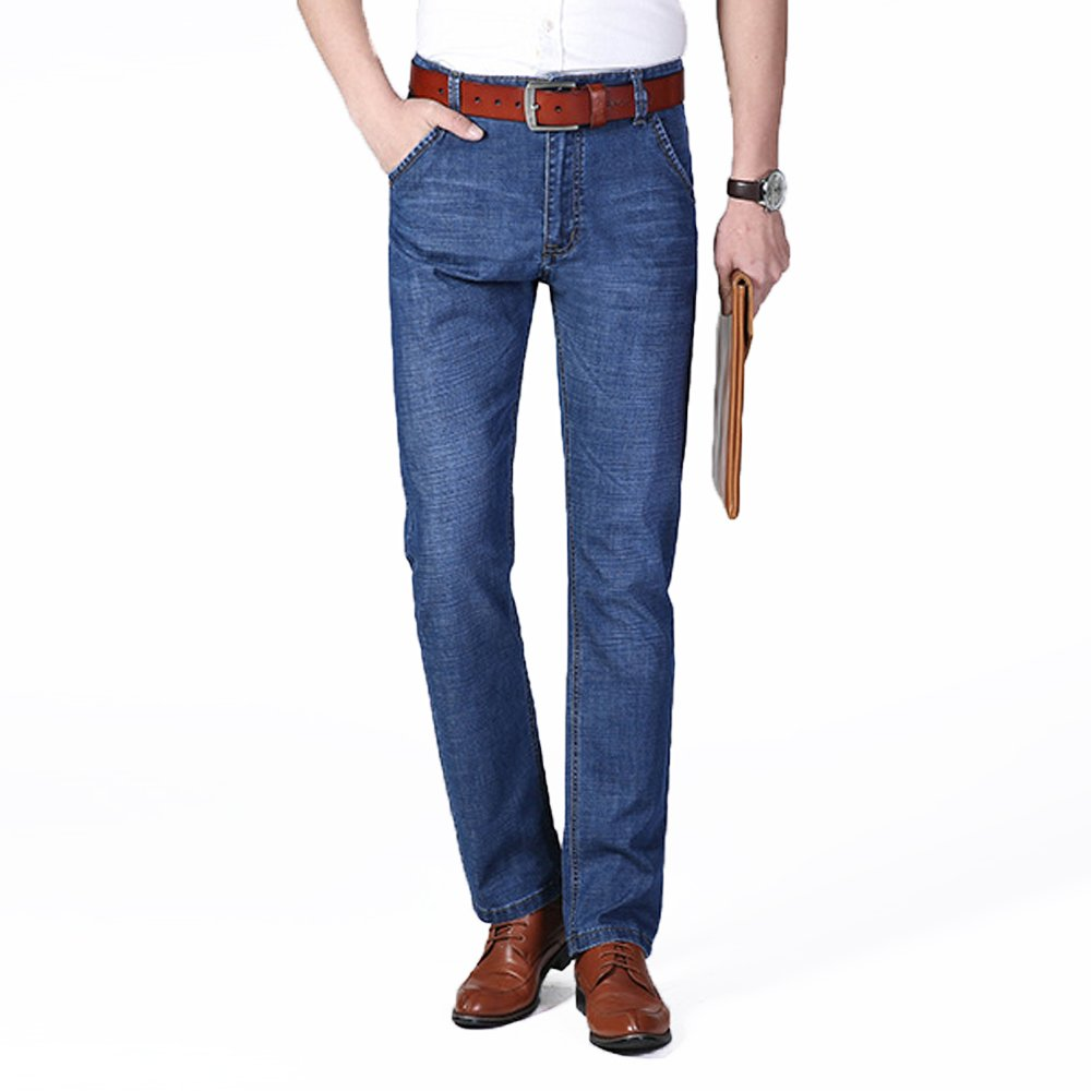 XYJD Men's Straight Barrel Jean for Business and Leisure in Summer