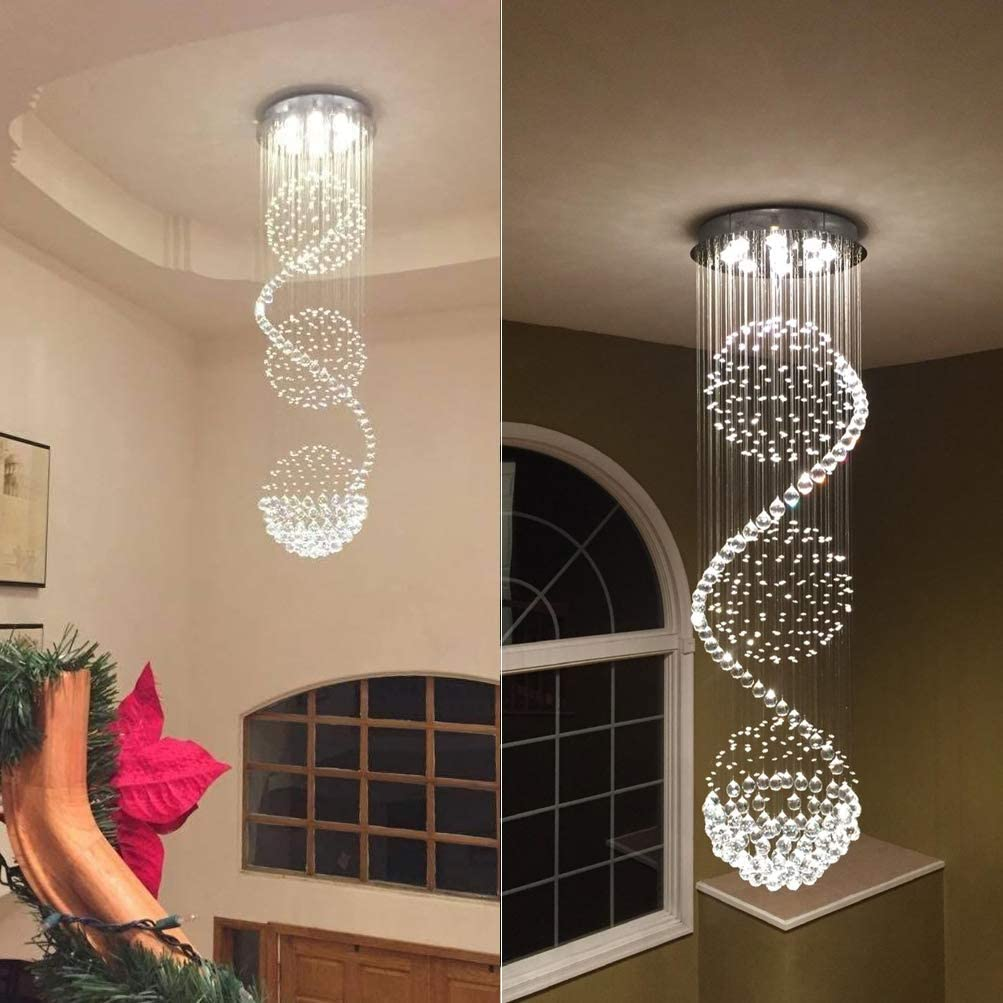 CRYSTOP Crystal Chandelier Modern Spectacular LED Spiral Sphere Rain Drop K9 Ceiling Light Fixture for Living Room Hotel Hallway Foyer Entry Way